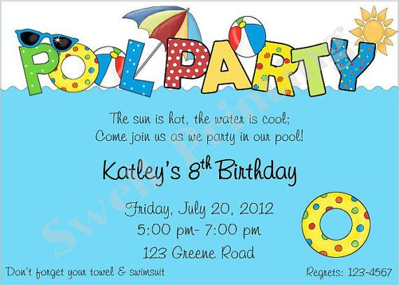 9 best Pool Party invites images on Pinterest Invites, Pool - pool party invitation