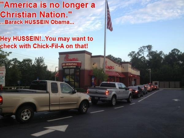 From...Chick-fil-A.....               PATRIOTS                                                                     STANDING for FREEDOM of SPEECH.          STANDING for FREEDOM of RELIGION.               THE GIANT HAS AWAKENED.                         THE EAGLE HAS FLOWN.