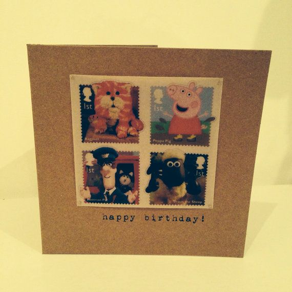 Vintage Style Shabby Chic Royal Mail kids stamps happy birthday card  - hand made - any age can be personalised on Etsy, £2.50