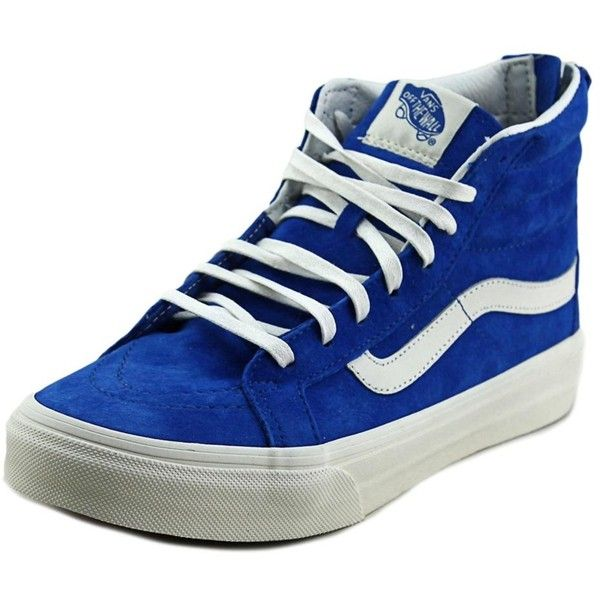 Vans Vans Sk8-Hi Women Round Toe Suede Blue Skate Shoe | Bluefly.Com ($43) ❤ liked on Polyvore featuring shoes, sneakers, blue, vans trainers, small heel shoes, round cap, blue low heel shoes and blue suede shoes