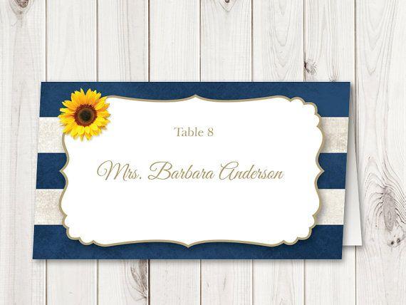 Sunflower Wedding Place Card Template / Navy Blue Stripes. Rustic Wedding Name Cards. DIY Printable Escort Cards. Editable Placecard. Folded