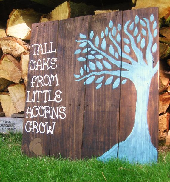 Wood sign sayings nursery wall decor, Rustic nursery decor Woodland Nursery art Teal Tall oaks from little acorns grow quote turquoise on Etsy, $55.00