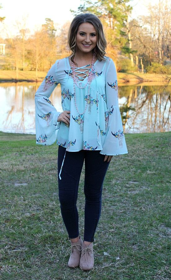 Spring to Mind Sheer Bull Head Lace Up Top in Mint – Giddy Up Glamour Boutique