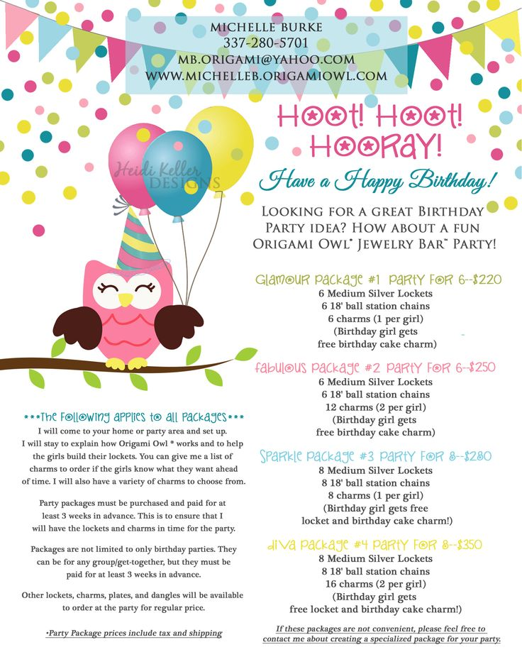 Origami Owl Kids Birthday Party Packages www.michelleb ... - photo#32