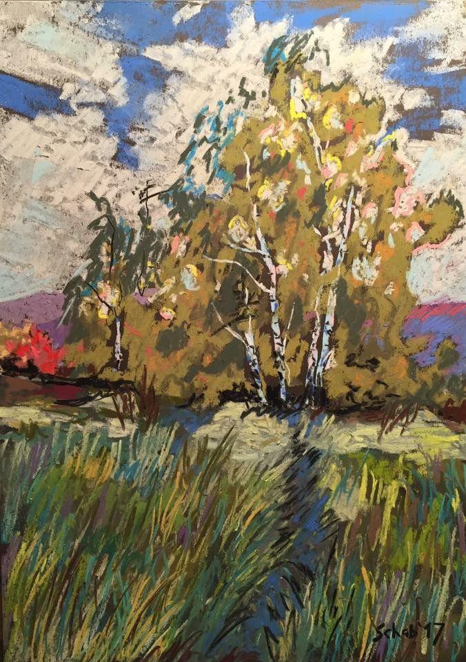 Birches- A4 paper, soft pastels