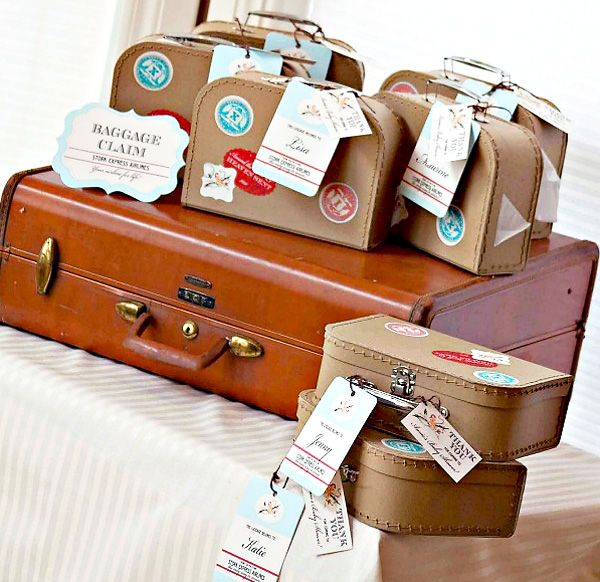 Baggage claim with guest names on the tags.  But where do you purchase these cute paper suitcases?