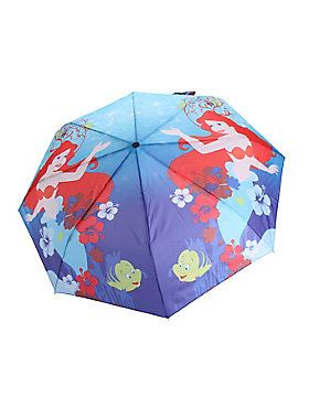 <p>Compact umbrella from Disney's <i>The Little Mermaid</i> with Ariel under the sea print design.</p><ul><li>Imported</li></ul>