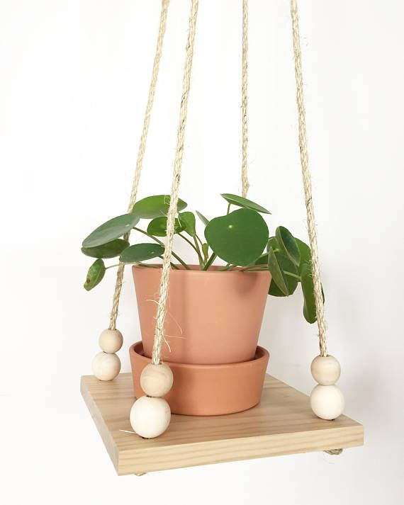 Rope And Wood Hanging Planter Plant Hanger Plant Shelf Floating Shelf Hanging Shelf The Shelf W Double Wooden Beads Plant Hanger Plant Shelves Hanging Plants Indoor