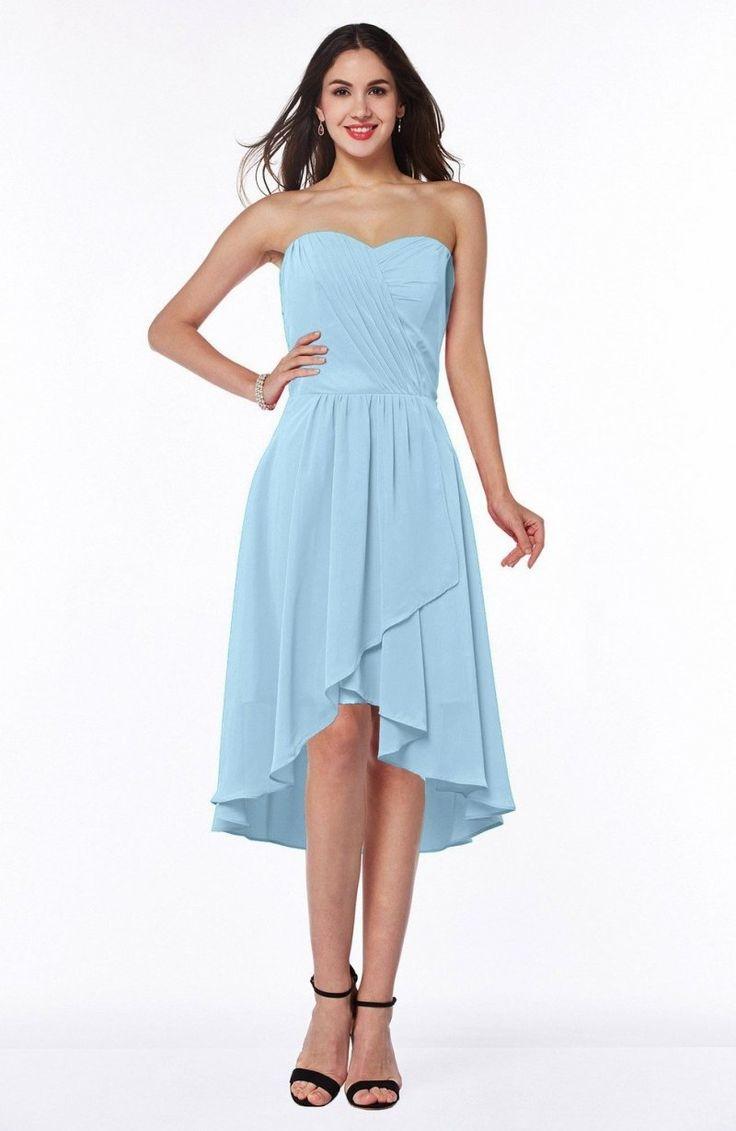 Ice Blue Bridesmaid Dress - Mature A-line Sleeveless Zip up Ruching Plus Size Maxi