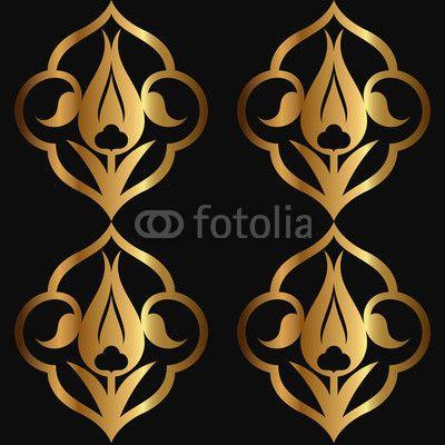Vector: Altın Rumi Desen