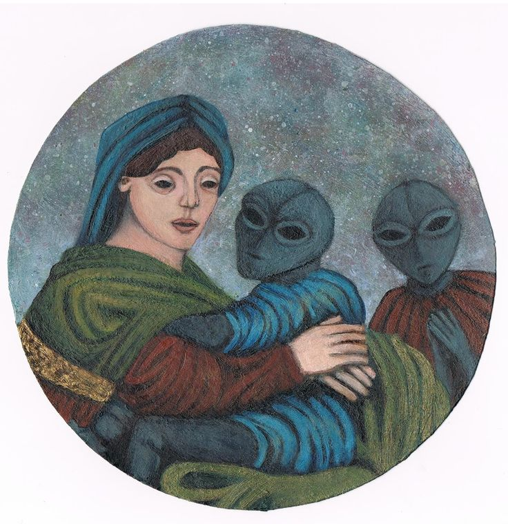 Raphael inspired painting of The Virgin Mary and an Alien Child. appears blasphemous but the meaning is far deeper :)