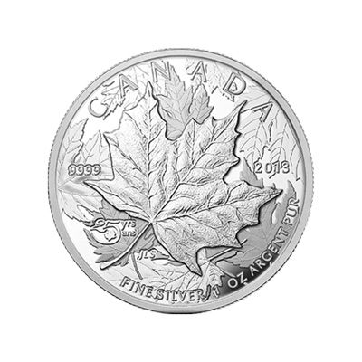 The 25th anniversary of the Silver Maple Leaf inspired a proof with the satisfying thickness of a piedfort coin. Weighty and substantial, it is a suitable tribute to the world's most popular 1 oz silver coin. The high relief design, smaller diameter and unusual thickness feel weighty, substantial and reference the exceptional quality the Royal Canadian Mint is known for.