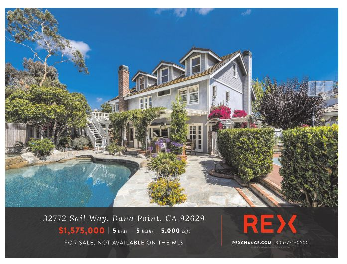 32772 SAIL WAY Dana Point, CA 92629  https://rexchange.com/listing/32772-sail-way   East Coast Traditional Cape Cod style home full of charm and character. The home boasts 5,000 sq. ft including 5 bedrooms and 4.5 baths. The 11,340 sq. ft. lot includes a lagoon-like swimming pool and jacuzzi with waterfall, built in barbeque and outdoor kitchen, a tranquil fountain, paddle tennis and basketball sports court, a newly rebuilt greenhouse, and a garden area with a gazeebo. You feel like you…