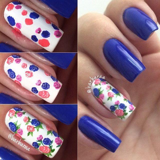 Cómo hacer diseño de rosas en las uñas paso a paso | Uñas ...