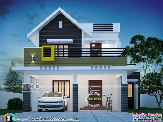 1564 square feet 4 bedroom cute Kerala home design in 2019