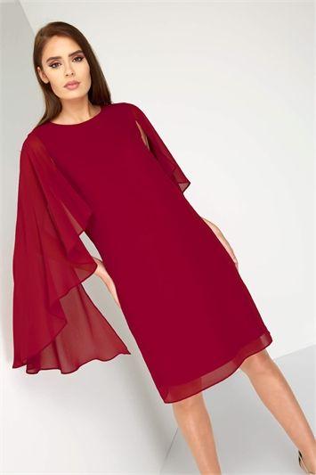 Chiffon Cape Sleeve Dress  4a2ac2704