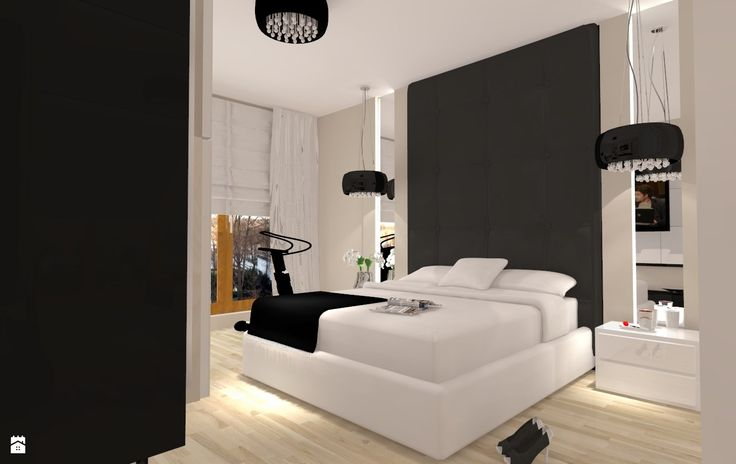 Biało czarny glamour - Sypialnia - Styl Nowoczesny - ARCHITETTO
