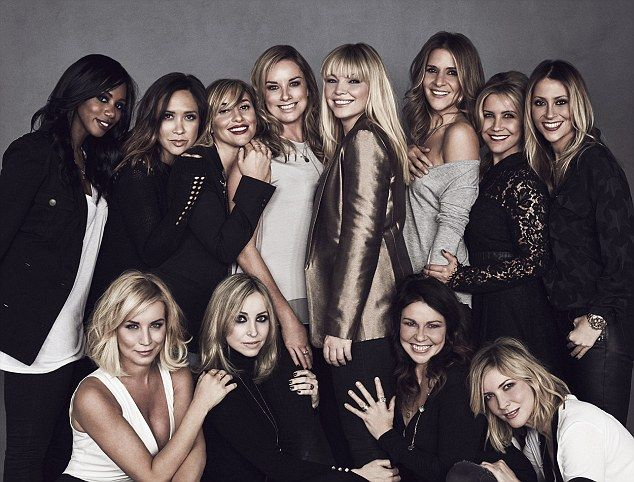 You can buy with a little help from my friends: Kate Thornton (centre) gathered high-profile friends to help with her new cashback website: Left to right, rear, Shaznay Lewis, Myleene Klass, Melanie Blatt, Tamzin Outhwaite, Amanda Byram, Heidi Range, Nicole Appleton, front, Denise Van Outen, Natalie Appleton, Julie Graham and Lisa Faulkner with pictures taken by  Danish supermodel and photographer Helena Christensen.