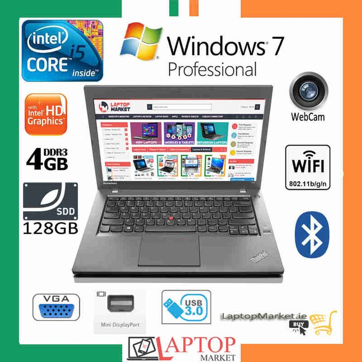 "Lenovo ThinkPad T440, 14"" HD Laptop, Intel® Core i5-4300U upto 2.90GHz, 4GB DDR3 RAM Memory, 128GB Solid State Drive, Intel HD 4400 Graphics, Mini Display Port, VGA, 3G Sim Card Slot, Backlite Keyboard, Bluetooth, SD Card Reader, Windows 7 Pro"