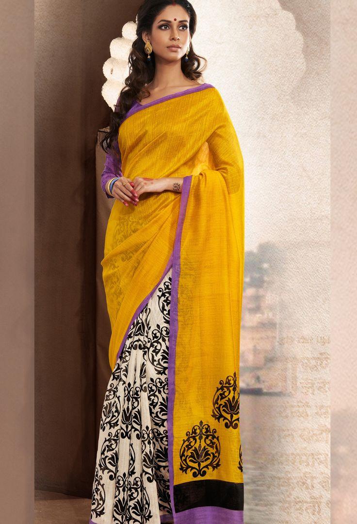 Bhagalpuri Yellow Designer Printed Silk Sarees at $37.50 (37% OFF)