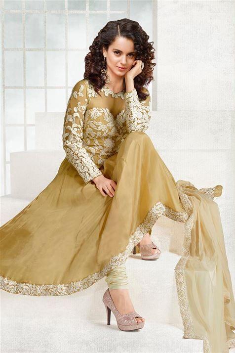 Candid Kangana Ranaut Fawn Georgette Thread Work Anarkali Suit