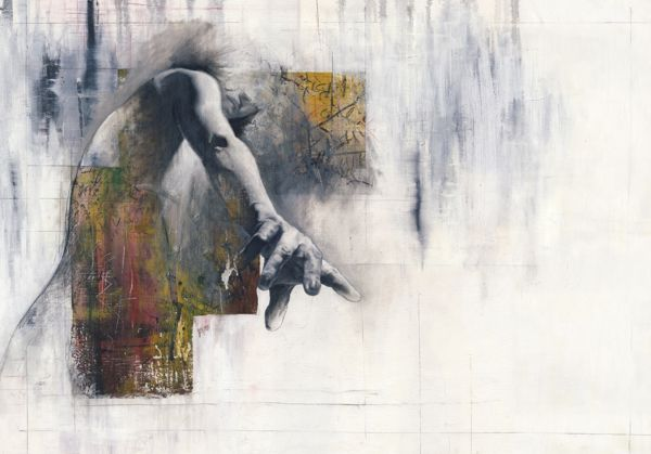 Justin Harris utilizes a mix of media (oil, acrylic, pencil, and pastel on canvas) to create four powerful pieces for his series titled The Writer