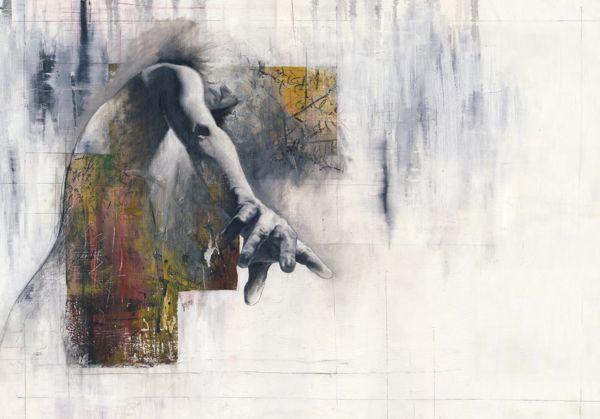 Лондонский художник Джастин Харрис использует сочетание СМИ (масло, акрил, карандаш, и пастель на холсте), чтобы создать четыре мощные произведения для своей серии под названием The Writer .