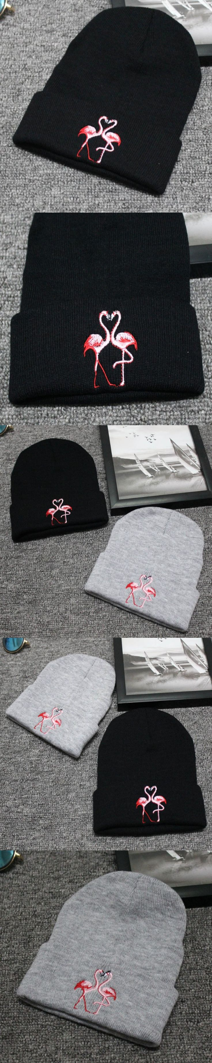 Beanie Skullies Flamingo Embroidery Knitted Winter Caps For Men and Women Ski Warm Hat