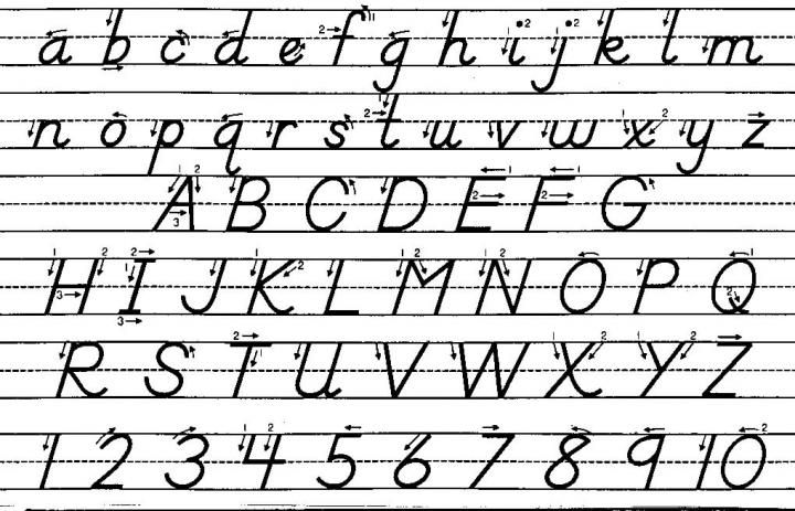 D'Nealian handwriting - has a link to print out 3 pages of practice