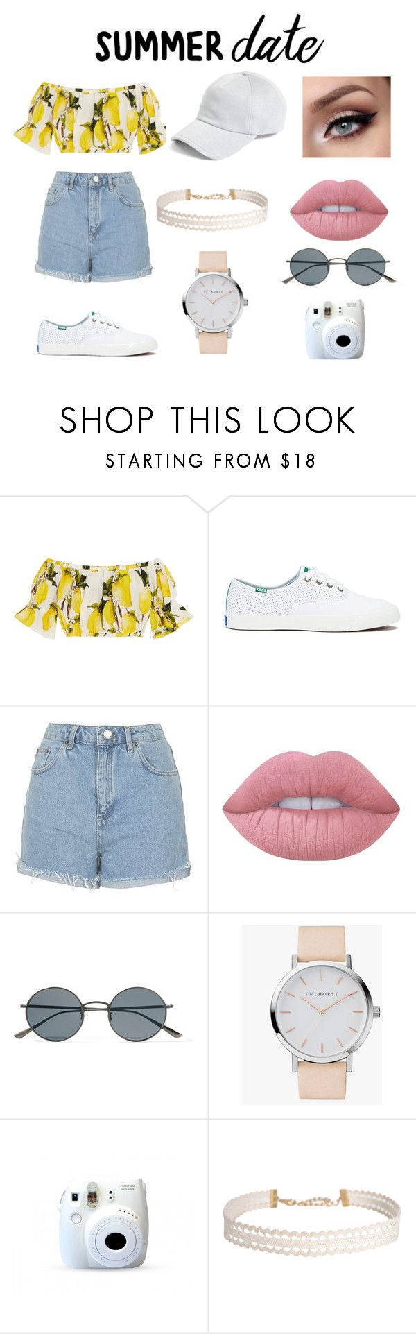 """""""Simple summer date outfit"""" by cagbsjiom ❤ liked on Polyvore featuring Dolce&Gabbana, Keds, Topshop, Lime Crime, Oliver Peoples, The Horse, Fuji, Humble Chic, rag & bone and statefair"""