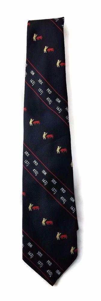 Vintage Stock Broker Neck Tie Bull & Bear Stock Exchange Wall Street Barrons #Barrons #Tie