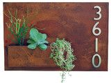 "Hanging Planter & Metal Address Plaque, Succulent Wall Decor - 20"" x 30"" - Eclectic - House Numbers - Urban Mettle"
