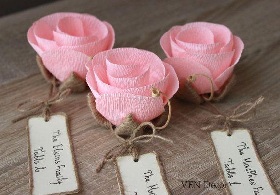 Unique Wedding Favor Ideas #sponsored - 10 Rustic Flower Place Card Holders, Unique Weddin…
