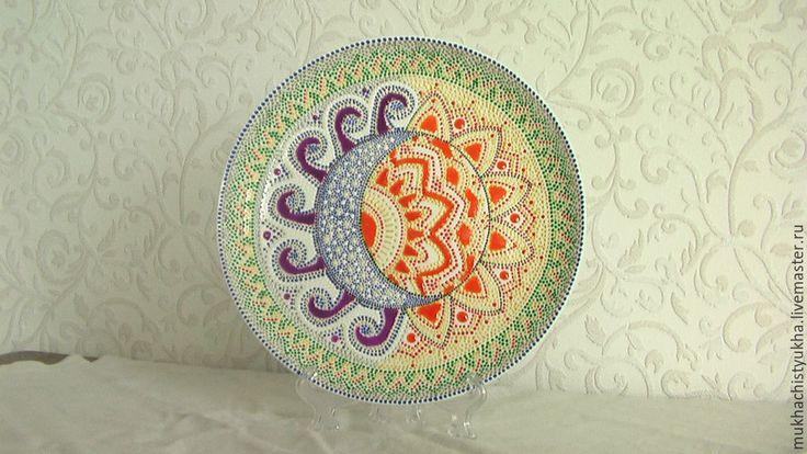 Купить Декоративные расписные тарелки - разноцветный, point-to-point, Тарелка декоративная, тарелка сувенирная