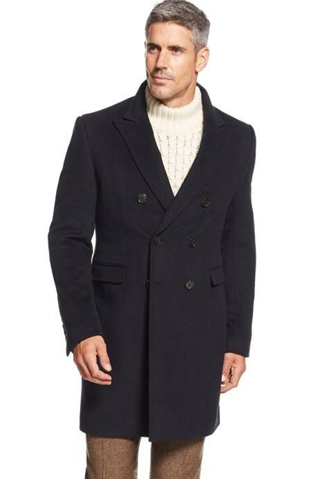 Designer Brand Men's Lawrenceville Topcoat Double-Breasted Wool Blend Overcoat