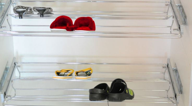 Shoe Rack Pull-out from Franci Furniture Fittings. For optimizing your shoe closet and ensuring your shoes are neatly stacked away. Side mounting makes it ideal for stacking shoe racks upon each other.