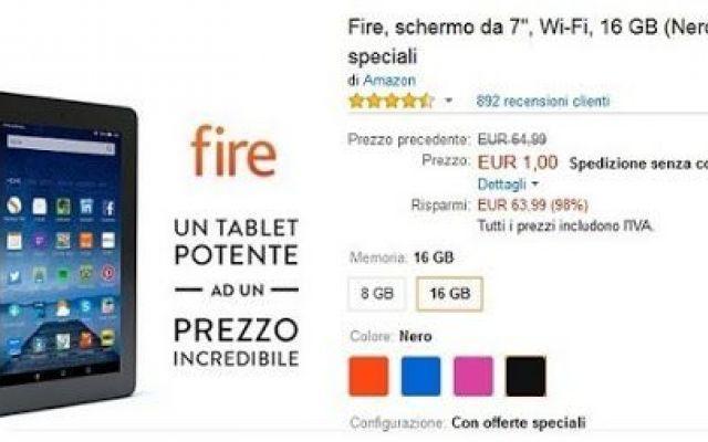 Kindle fire a 1 euro: abbiamo il comunicato ufficiale di Amazon Il tamtam della rete ha reso la notizia virale, e molti hanno acquistato diversi quantitativi di Tablet Kindle Fire. Ieri si è registrato un analogo episodio, le cuffie Monstercube Bluetooth, annulla #amazon #fire
