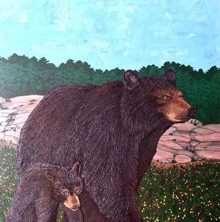 Mother and Cub 36 x 36 acrylic