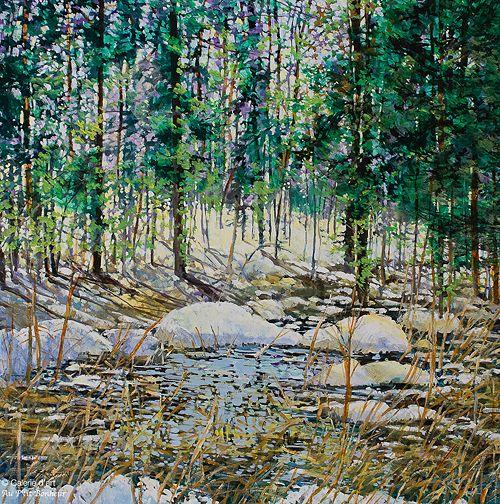Bev Rodin, 'Spring Thaw, Crawford Creek', 36'' x 36'' | Galerie d'art - Au P'tit Bonheur - Art Gallery
