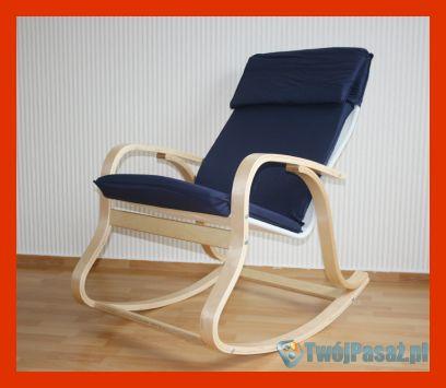 Fotel bujany na biegunach, do salonu, drewno
