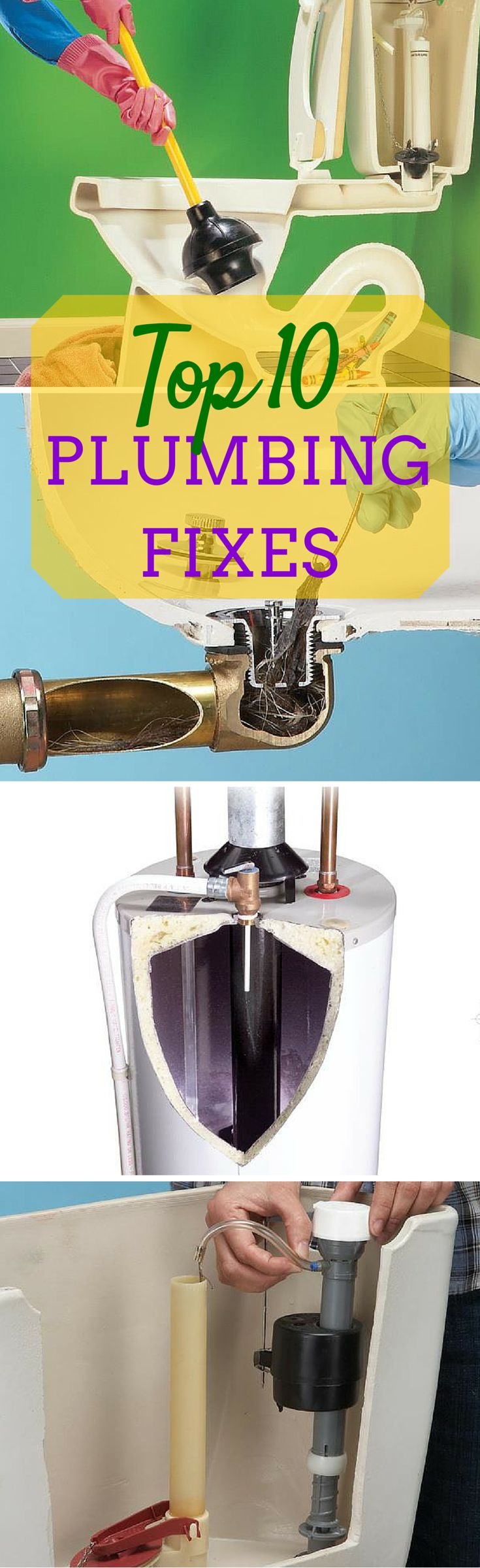 The Top 10 Plumbing Fixes - Save money by doing simple plumbing repairs yourself. These fixes are completely DIY with basic tools and skills.