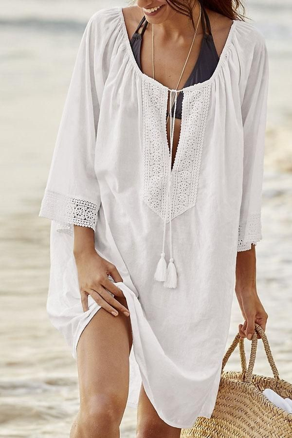 cd54de8b087 Beachsissi Half Sleeves Bikinis Cover Up #summerdressescottoncasual ...