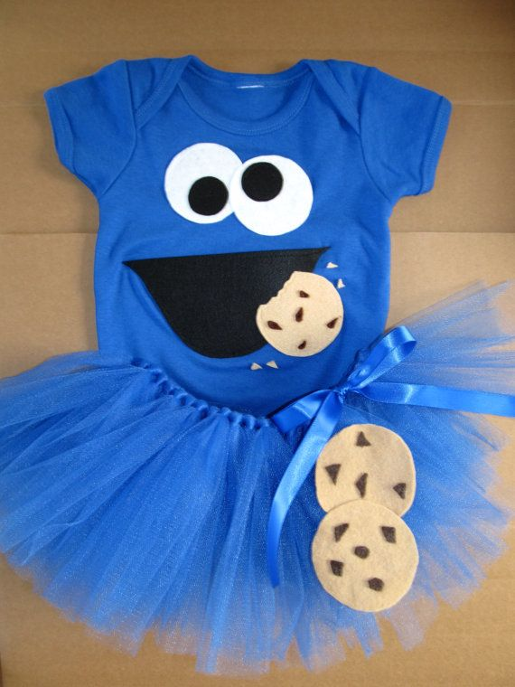 Cookie Monster Onesie Tutu size 0-3 months 3-6 6 - 12 12-18 mo Halloween Costume 1st birthday themed party outfit 2nd bday Infant Girls Kids