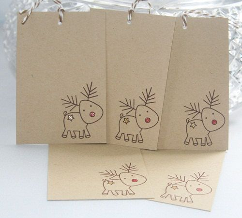 Christmas Gift Tags Reindeer with Red Nose by LaurasPaperCreations, $4.50 #Smartpress