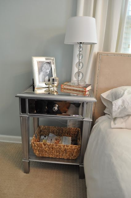 Pier 1 Hayworth Nightstand in master bedroom.   I have these bedside tables and LOVE them. also have lead crystal lamps...thanks MOM