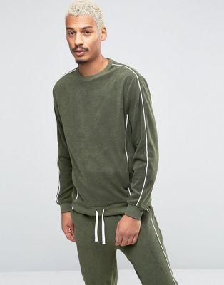 ASOS Loungewear Towelling Sweatshirt With Contrast Piping In Khaki