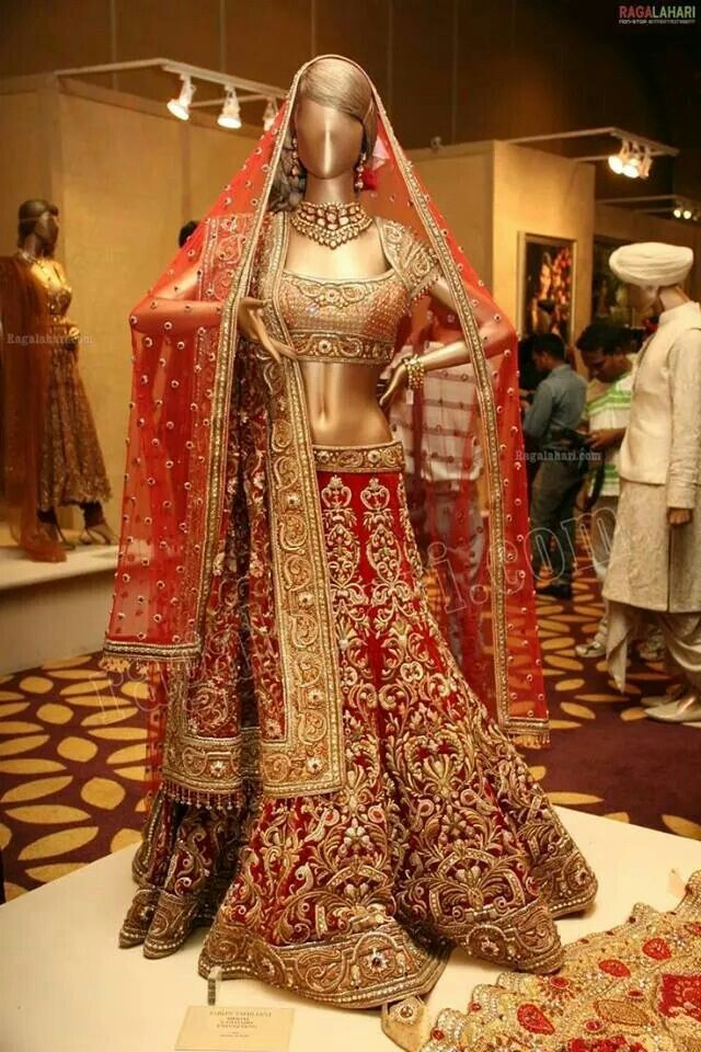 Beautiful bridal Red Lahenga with Double Dupatta