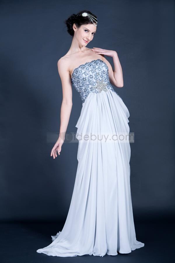 フレッシュA-ラインロングフロアストラップレス大聖堂トレーンプロム/イブニングドレス