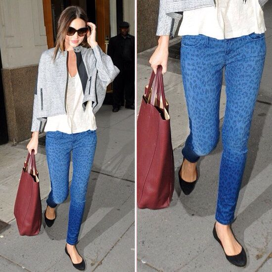 Leopard jeans and grey jacket