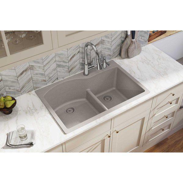 Quartz Classic 33 L X 22 W Double Basin Drop In Kitchen Sink Undermount Kitchen Sinks Elkay Quartz Kitchen